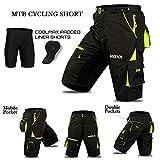ROXX Cyclisme VTT Short, Coolmax rembourré, Doublure intérieure Amovible, Free Style Taille Adulte-Noir/Fluo