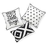 Hofdeco - Juego de 3 fundas de almohada decorativas y lumbares para interiores y exteriores, resistente al agua, con citas en espiral, texto en inglés 'Enjoy Little Things'