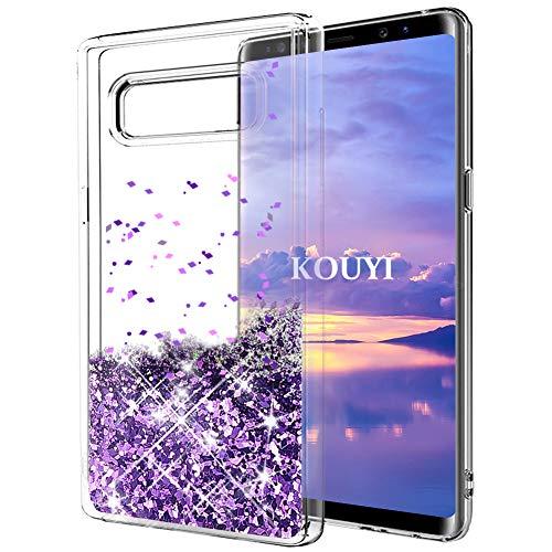 Coque Galaxy Note 8,KOUYI Luxe Flottant Liquide Étui Protecteur TPU Bumper Cover Brillant bling Mode 3D Créatif Sparkly Cristal Coques Housse Telephone étui pour Samsung Galaxy Note 8 (Violet)