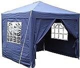Airwave Pop-Up-Pavillon, 2,5 x 2,5 m, blau, wasserfester GartenPavillon, 2 Windstangen und 4 Gewichte für die Beine