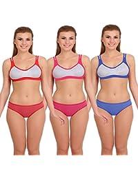 2d19dcf700 Fashion Comfortz Womens Sports Bra and Panty Set Womens Girls Ladies  Undergarments Bra Panty Set for