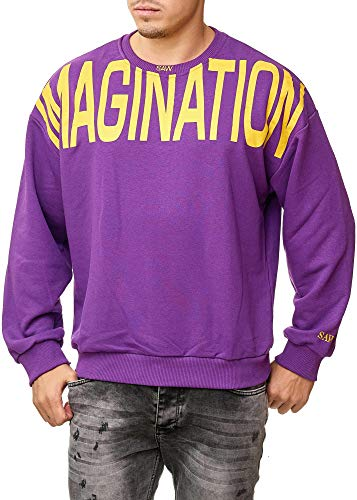 OneSaw Herren Sweatshirt Oversize Hoodie Pullover Modell 2582 (M, Lila) Lila Sweatshirt Hoodie