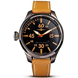 Chotovelli Aviator Pilot Men's Watch Analogue display Camel leather Strap 52.02