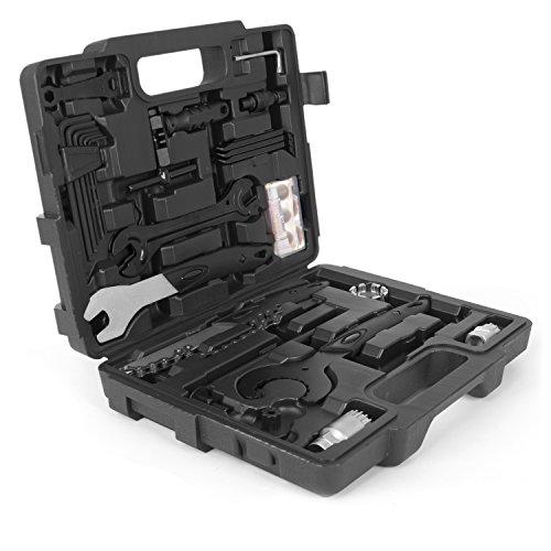 Gregster Fahrrad Werkzeugkoffer in schwarz | Fahrrad Werkzeug Set | Fahrradwerkzeug mit Kunststoffkoffer für Fahrrad Montagearbeiten und Reparaturen | Fahrrad Werkzeugsatz mit 26 teilen