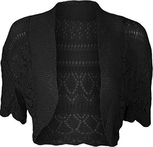 Les femmes knited Chrochet Gilet Boléro Haut Shrugs Cap manches Noir