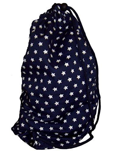 Maritimer Turnbeutel Wäschebeutel Hipster 100% Baumwolle Sterne Sternchen blau weiß - Für Kinder zur Einschulung & Kindergarten - Handar...