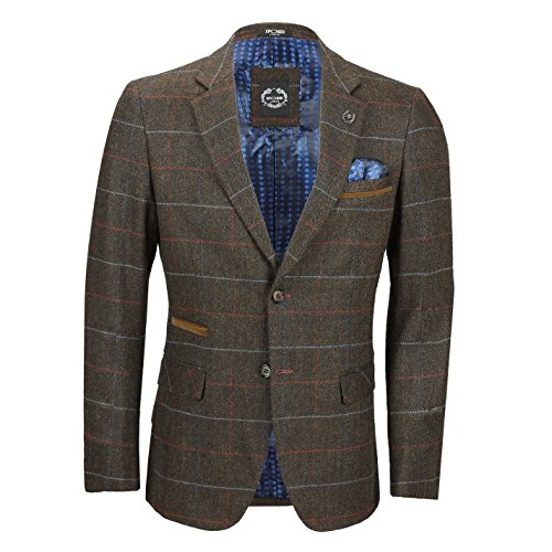 Xposed Mens 3 Piece Earth Brown Check Herringbone Suit Sold as Tailored Separates Blazer Waistcoat Trouser