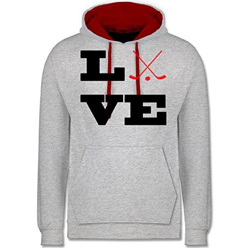 Eishockey - Eishockey Love - Kontrast Hoodie Grau Meliert/Rot