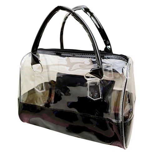 Donalworld da donna, stile Vintage, in PVC, motivo: Summer spiaggia di borsetta in silicone, colore: trasparente Nero (Wtblack)