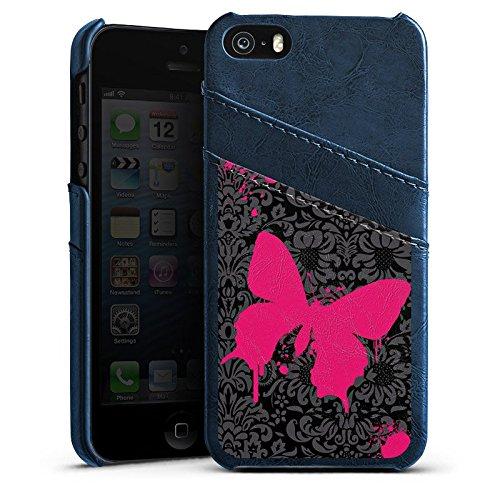 Apple iPhone 5 Housse Étui Silicone Coque Protection Papillon Papillon Rose vif Étui en cuir bleu marine
