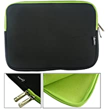 Emartbuy® Acer Aspire Switch 10E SW3-013-17Z6 Tablet PC Negro / Verde Funda Case Cover Sleeve Impermeable con Cremallera de Neopreno Suave Verde Interior & Zip ( 10-11 Inch eReader / Tablet / Netbook )