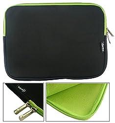 Emartbuy Asus C100pa Chromebook Flip 10.1 Inchasus C101pa Chromebook Flip 10.1 Inch Blackgreen Water Resistant Neoprene Soft Zip Case Cover Sleeve With Green Interior & Zip