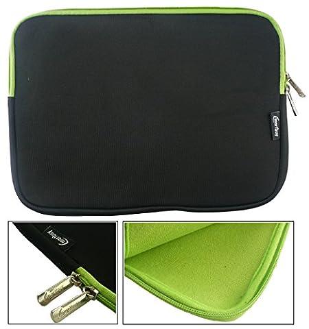 Emartbuy® Noir / Vert Résistant à L'eau Pochette Sleeve Etui Case en Néoprène With Vert Interior & Zip Adapté Pour Dell Inspiron 15 5000 Series 2 in 1 Laptop ( 15-16 Pouce Laptop / Notebook )