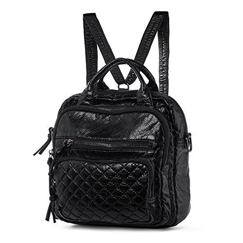 Katloo 4 in 1 Damen Tasche - Weich Gewaschen Leder Kleine Schultertasche / Handtasche / Backpack / Umhängetasche mit 6 Reißverschluss Fächer (Schwarz)