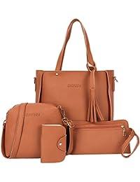 4pcs Women Fashion PU Leather Handbag Shoulder Bag Tote Purse Card Holder (Brown)
