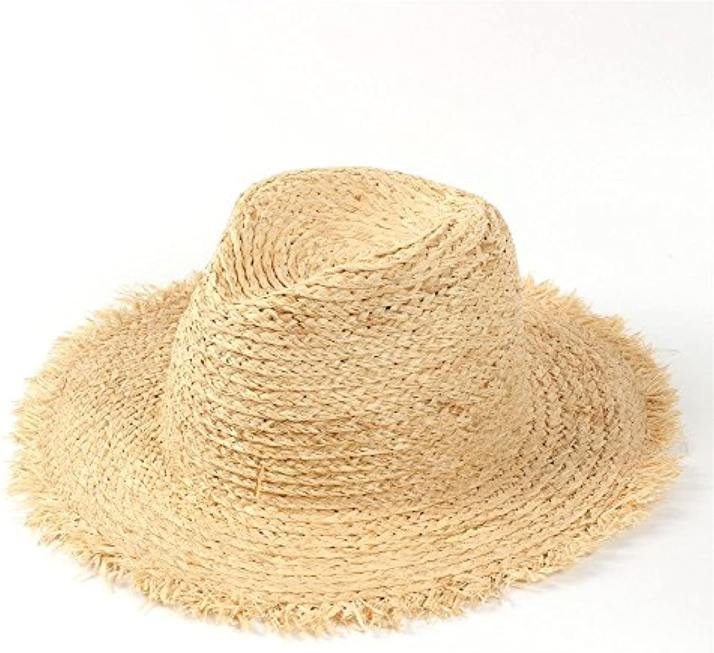 CFHJN Home 100% Rafia Cappello Donna Estivo da Spiaggia da Donna Cappello  Cappello da Sole con Nappa Floppy Ampio Cappello da... Parent 1a021b fb5123dbd6fc