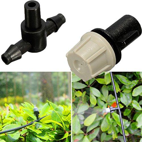 Bluelover 1/4 De Pulgada 50Pcs Plástico Bruma Boquilla Aspersor para Planta De Flor De Invernadero Sistema De Refrigeración con T