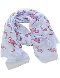 Schal Tuch mit Seide Baumwolle ROSA Flamingo Kakteen Kaktus Vögel Halstuch Scarf
