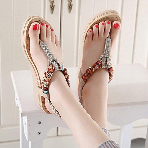 Gtverh-pantoufles De Flip-diamond Tournent Les Chaussures De Sandales Avec Des Semelles Épaisses Muffin Les Sandales Occasionnelles À Faible Inclinaison, 37 Trente-six