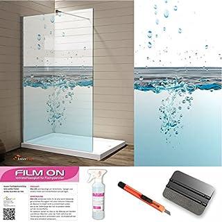 Interfoil Glasdekor Dusche, Druck auf Glasdekorfolie in Sandstrahloptik, hochwertig Bedruckte Glasdekorfolien mit Einer satinierte Oberfläche aus eigener Produktion! (200 x 100 cm)
