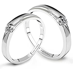 Via Mazzini 925 Silver Plated Love Birds Crystal Couples Ring (Ring0129)