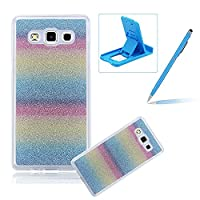 For Samsung Galaxy J7 SM-J700 Cover,For Samsung Galaxy J7 SM-J700 Rubber Case,Herzzer Super Slim [Rainbow Striped Gradient Color Changing] Dust Resistant Soft Flexible TPU Bling Glitter Protective Case for Samsung Galaxy J7 SM-J700 + 1 x Free Blue Cellpho