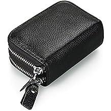Extsud® Mini Portafoglio con Protezione RFID Doppio Scomparto, in Vera Pelle Capiente Portamonete, 2 in 1 Porta Banconote e Tessere, Ideal Regalo per Amici Familiari, 11x7,5x4cm