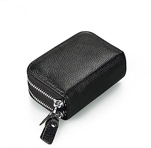 Extsud® Mini Portafoglio con Protezione RFID Doppio Scomparto, in Pelle Capiente Portamonete, 2 in 1 Porta Banconote e Tessere, Ideal Regalo per Amici Familiari, 11x7,5x4cm (Nero)