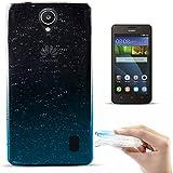 Zooky® Carcasa con gotas de lluvia ultra fina y suave de alta calidad TPU / funda para Huawei Y635, Transparente / Azul