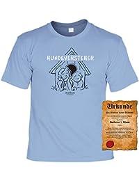 Hundeversteher T-Shirt - Veri Set Hunde T-Shirt und Urkunde - Hunde Cartoon Motiv aus einem Hundebesitzer Leben in hellblau : )