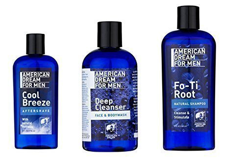 American Dream Men's Skin / Hair / Face Care Trio Set Of Products (Foti Root Shampoo, Deep Cleanser, Aftershave) by American Dream
