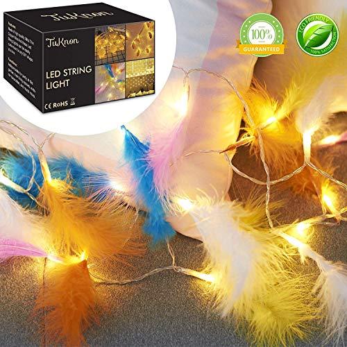 LED Lichterkette LED String licht Innen Led Glühbirnen Farbige Feenlichter Feder Lichterkette Außen Warmweiß Für Weihnachten,Party,Hochzeit,Innen Dekoration(2.2M 20LED) (Feder-dekorationen Partys Für)