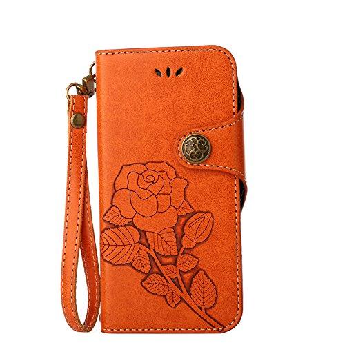 Lederhülle für Sony Xperia Z5 Hülle, ZCRO Leder Handytasche Hülle Retro Style Blumen Muster Wallet Flip Case Handyhülle Geldbörse Etui Vintage Schutzhülle Taschen mit Kartenfach Magnet Strap Lanyard Schale Cover Hüllen für Sony Xperia Z5 (Retro Orange)