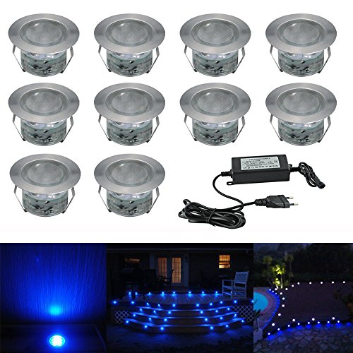 10pcs Ø45mm Luz LED Foco empotrable al Aire Libre 1W IP67 Impermeable...