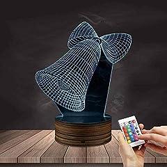 Idea Regalo - Luci Visive 3D A Forma Di Campana, Luce Notturna A 7 Colori Con Telecomando Usb, Lampade Da Tavolo A Led In Legno, Decorazioni Natalizie Per Bambini