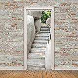 Adesivi murali in pietra di montagna scale Fai da te murale camera da letto Home Decor Poster Adesivo porta in PVC impermeabile 77x200cm