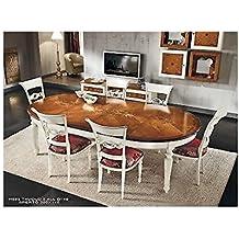 Mesa redonda extensible bicolor madera maciza