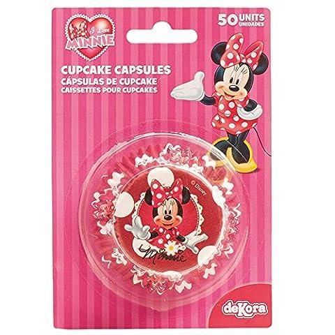 Minnie 339005 Pack de 50 Caissettes Cupcakes Papier Rouge 5 x 5 x 3 cm