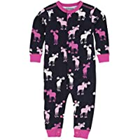 Hatley Lbh Infant Romper-Pink and Navy Moose, Tuta