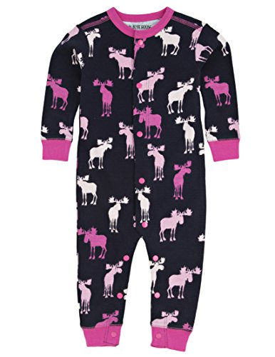 Hatley LBH Infant Romper - Pink And Navy Moose-Tuta intera