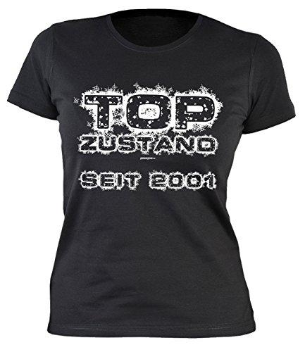 Girlie-Shirt/Damen/Geburtstags/Spaß-Shirt lustige Sprüche: Top Zustand seit 2001 originelle Geschenkidee Schwarz