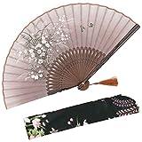 """OMyTea - Ventaglio manuale pieghevole """"Grassflower"""", da donna, in stile rétro vintage cinese/giapponese, con custodia in tessuto per proteggerlo, Brown"""