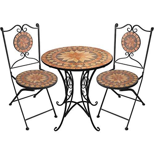 Multistore 2002 3er Set Mosaikgarnitur Mosaiktisch rund Ø70cm + klappbare Mosaikstühle Keramik Eisen Mosaik Sitzgarnitur Sitzgruppe Mosaikmöbel
