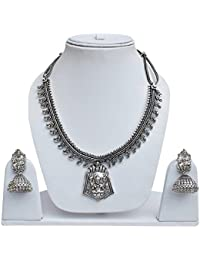 Lucky Jewellery Oxidised Silver Color Alloy Goddess Laxmi Necklace With Jhumki Earring For Girls & Women