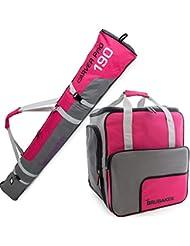 BRUBAKER Conjunto 'Super Function 2.0' Bolsa para botas y Casco de ski junto a 'Carver Pro 2.0' Bolsa para un par de Ski - Rosa / Gris - 190 cms.