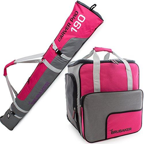 BRUBAKER Kombi Set Carver PRO - Limited Edition - Skisack und Skischuhtasche für 1 Paar Ski bis 190 cm + Stöcke + Schuhe + Helm Pink Grau