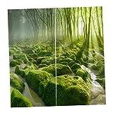 Homyl 2er-Set Vorhang Schal Verdunkelungsvorhang BLICKDICHT für Wohnzimmer Schlafzimmer, Auswahl - Grüner Wald