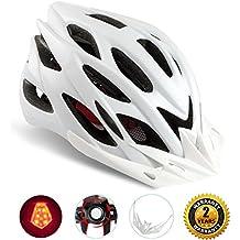 Shinmax Casco Especializado de la Bici con la luz de la Seguridad, Casco de Ciclo Ajustable del Deporte Cascos de la Bici de la Bicicleta para el Camino y Mountain Biking, Motocicleta para los Hombres y las Mujeres Adultos (Blanco-Gran Luz)