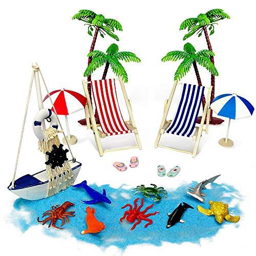 Tatuer Mini-Stranddekorationen Liegestühle Palmen Sonnenliegen Sonnenschirme Meerestiere Holzboot Miniatur Deko Geschenken Für Badezimmer Torte Vitrine Wohnzimmer Schreibtisch Wohnung(16 STK)