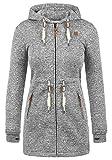 DESIRES Thora Damen Lange Fleecejacke Sweatjacke Jacke Mit Kapuze Und Daumenlöcher, Größe:XL, Farbe:Dark Grey (2890)